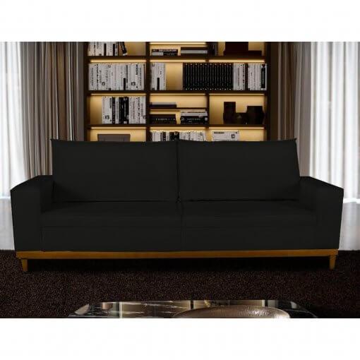 Sofa 4 Lugares Pes de Madeira Dubai Living Siena cor Preto