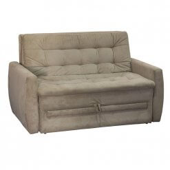 Sofa-Cama Casal Meg Suede Pena Matrix Bege