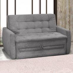 Sofa-Cama Casal Meg Suede Pena Matrix Cinza