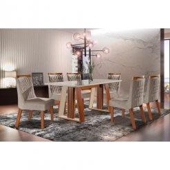 mesa de jantar deli com seis cadeiras atena