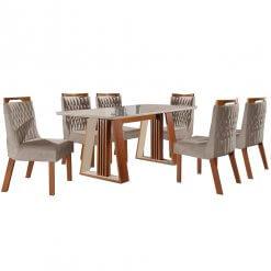mesa de jantar deli com seis cadeiras atena lj moveis