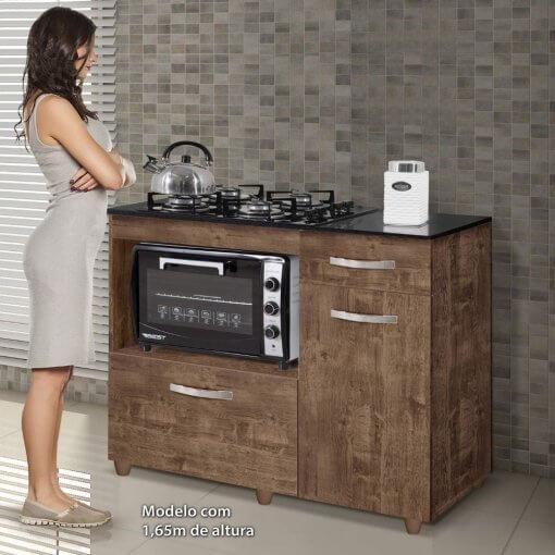 Balcao de Cozinha para Cooktop 2 Portas Violeta Kaiki Moveis