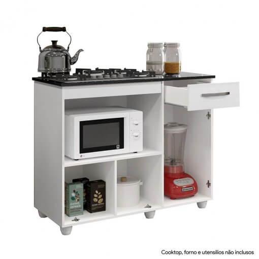 Balcao de Cozinha para Cooktop 2 Portas Violeta Kaiki Moveis aberto
