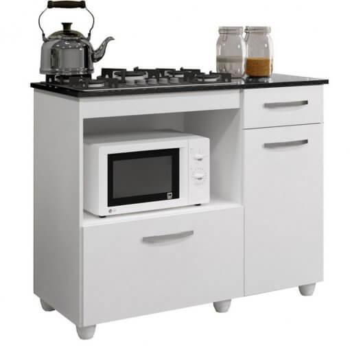 Balcao de Cozinha para Cooktop 2 Portas Violeta Kaiki Moveis branco