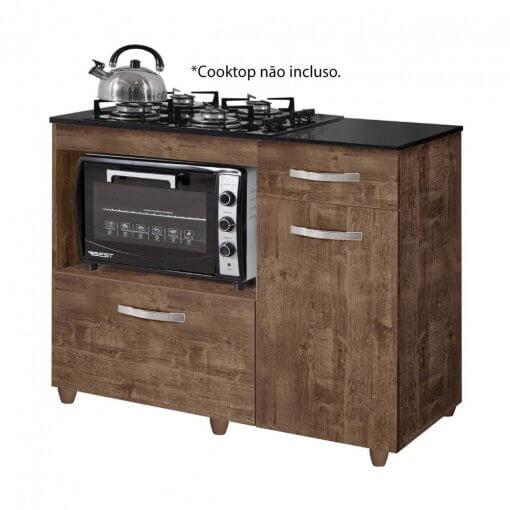 Balcao de Cozinha para Cooktop 2 Portas Violeta Kaiki Moveis ipe