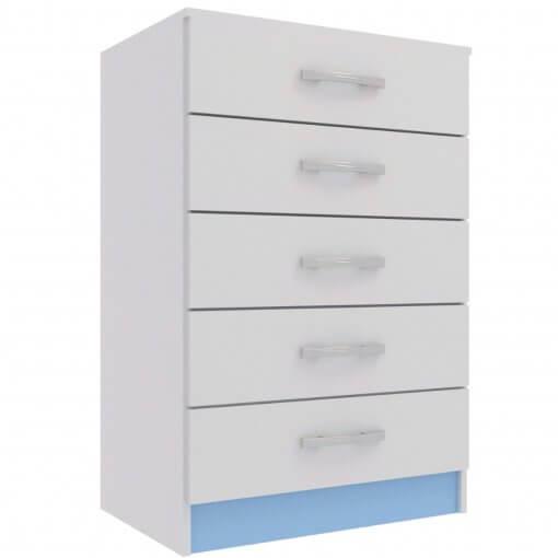 Comoda Maxi com 5 Gavetas Evidencia Moveis Azul