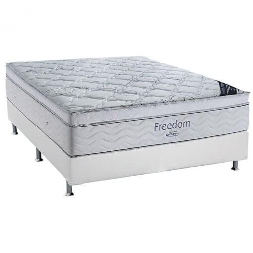 Conjunto Cama Box Casal Freedom Base Corino Branco