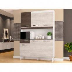 Cozinha Compacta Carine 6 Portas 1 Gaveta Poquema amendoa