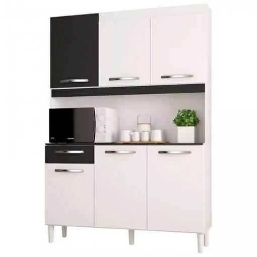 Cozinha Compacta Carine 6 Portas 1 Gaveta Poquema branca
