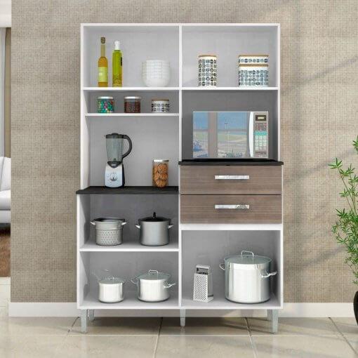 Cozinha Compacta Flavia 7 Portas e 2 Gavetas Poquema aberta