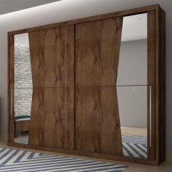 Guarda Roupa Casal Geom de 2 Portas de Correr com Espelho e 240cm Ambiente