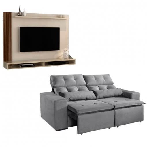 Kit Sofa Uba com Painel Para Tv Dijon cinza