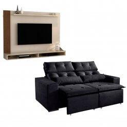 Kit Sofa Uba com Painel Para Tv Dijon preto