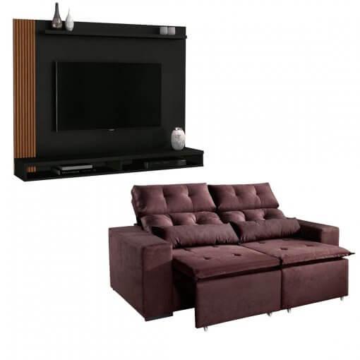 Kit Sofa Uba com Painel Para Tv preto
