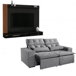 Kit Sofa Uba com Painel Tv Dijon cinza
