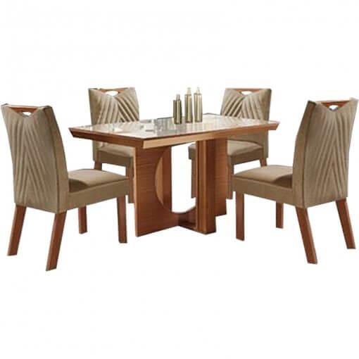 Mesa Frisa de Jantar Com 4 cadeiras 100 MDF Lj