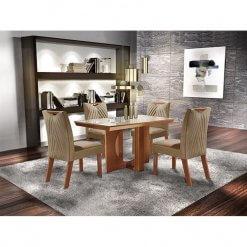 Mesa Frisa de Jantar Com 4 cadeiras 100 MDF Lj Moveis
