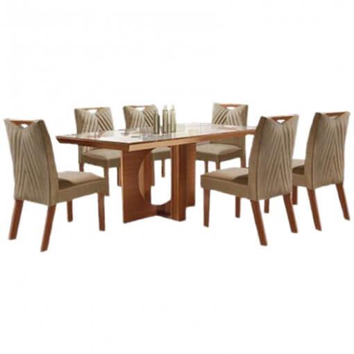 Mesa Frisa de Jantar Com 6 cadeiras 100 MDF Lj