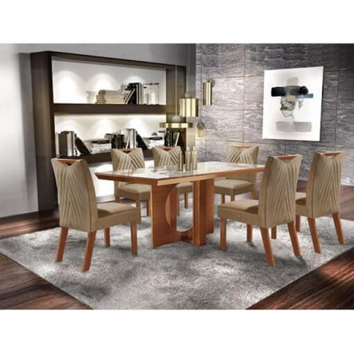 Mesa Frisa de Jantar Com 6 cadeiras 100 MDF Lj Moveis