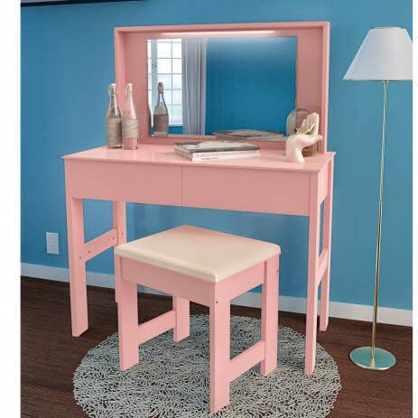 Penteadeira com Espelho e LED 2 Gavetas 7500 JB Bechara rosa