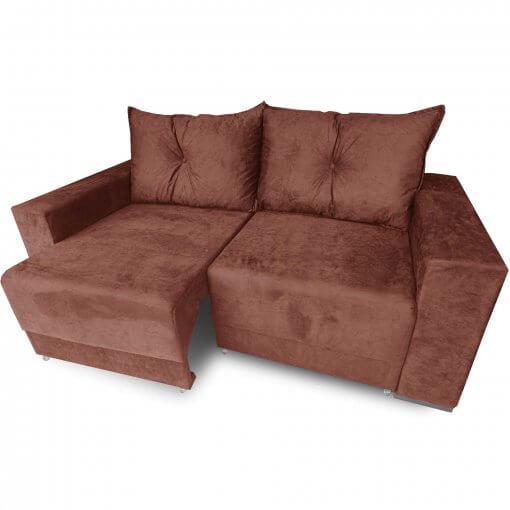 Sofa Retratil Estrela com Almofadas Soltas e Tecido Suede Ferrugem