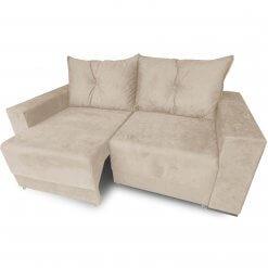 Sofa Retratil Estrela com Almofadas Soltas e Tecido Suede bege