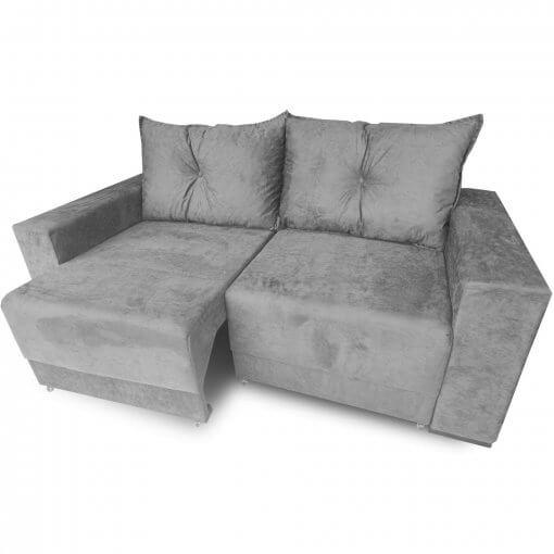 Sofa Retratil Estrela com Almofadas Soltas e Tecido Suede cinza