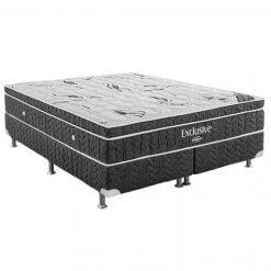 Base Box com Colchao Ortobom Exclusive Cinza - Molas Nanolastic Com Ortopillow