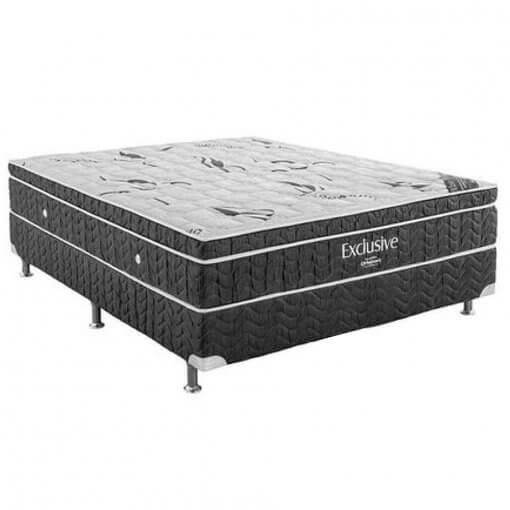 Base Box com Colchao Ortobom Exclusive Cinza - Molas Nanolastic Com Ortopillow Casal