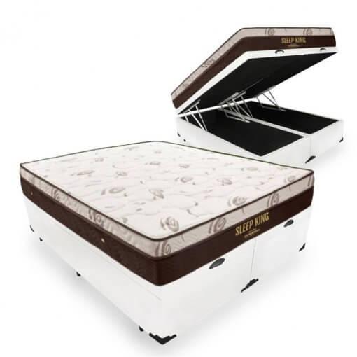 Cama Box Com Bau sleep king ortobom bipartida