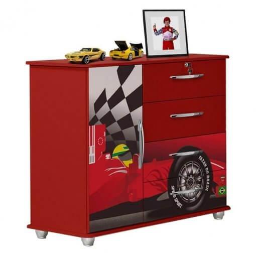Comoda Infantil Carro Formula 1 Vallen Moveis