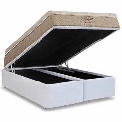 Conjunto Cama Box Bipartida com Colchao Ortobom de Molas Nanolastic Elegant Branco