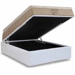 Conjunto Cama Box Bipartida com Colchao Ortobom de Molas Nanolastic Elegant Branco casal
