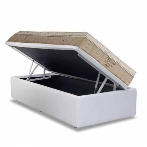 Conjunto Cama Box Bipartida com Colchao Ortobom de Molas Nanolastic Elegant Branco solteiro
