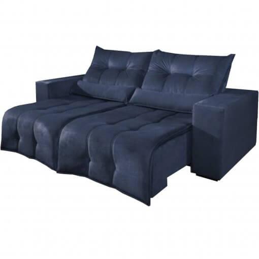 Sofa Retratil e Reclinavel 3 lugares 210cm turim azul