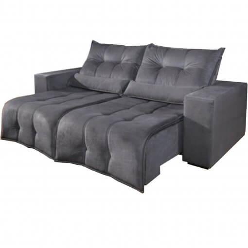 Sofa Retratil e Reclinavel 3 lugares 210cm turim cinza