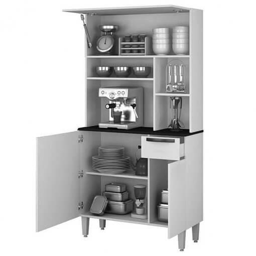 Armario De Cozinha 3 Portas 1 Gaveta Jaspe Salleto aberto