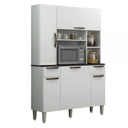 Armario De Cozinha Safira 5 Portas 2 Gavetas Salleto Branco