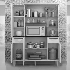 Armario De Cozinha Safira 5 Portas 2 Gavetas Salleto Branco Interno