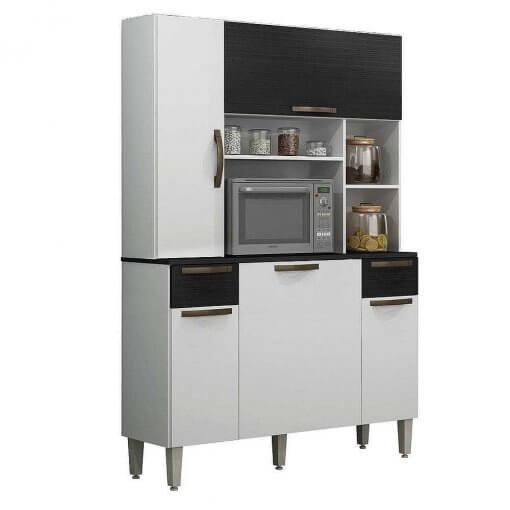 Armario De Cozinha Safira 5 Portas 2 Gavetas Salleto Branco Preto