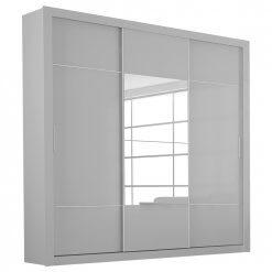 Guarda Roupa Casal Arezzo 3 Portas 3 Gavetas com Espelho Branco