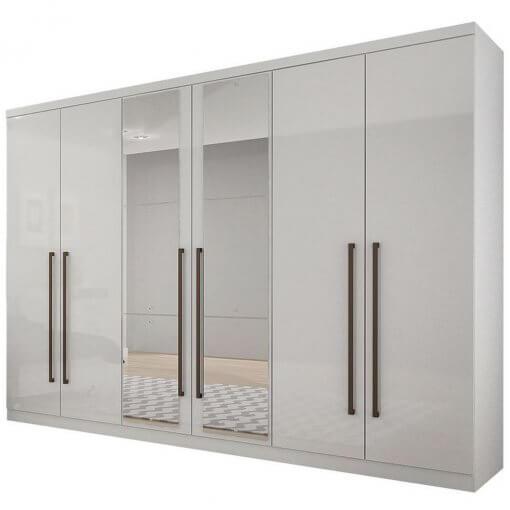 Guarda Roupa Casal COM Espelho 6 Portas 8 Gavetas Bari Novo Horizonte Branco