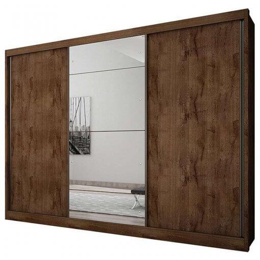 Guarda Roupa Casal Com Espelho 3 Portas 6 Gavetas Natus Novo Horizonte Canela