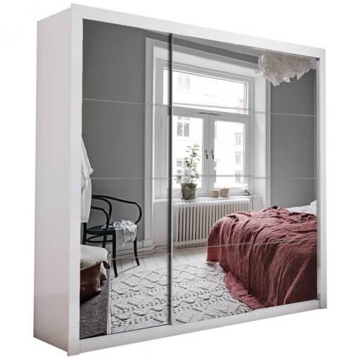 Guarda Roupa Casal com Espelho 3 Portas de Correr Berlim Branco Espelhado