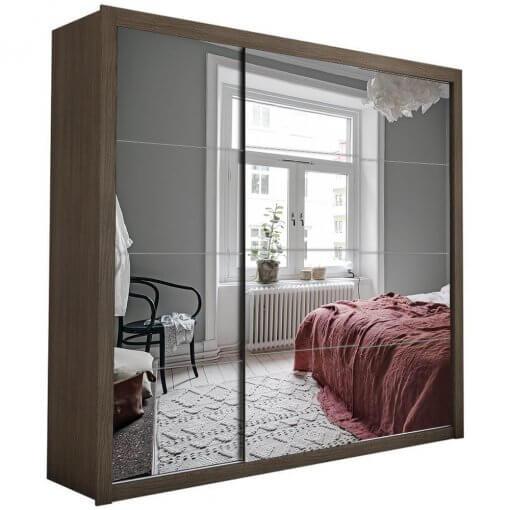 Guarda Roupa Casal com Espelho 3 Portas de Correr Berlim Malbec Espelhado