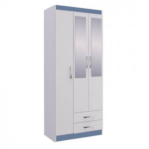 Guarda Roupa Treviso 103 Doripel Azul Com Espelho