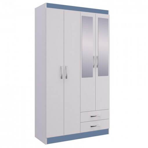 Guarda Roupa Treviso 104 Doripel Azul Com Espelho