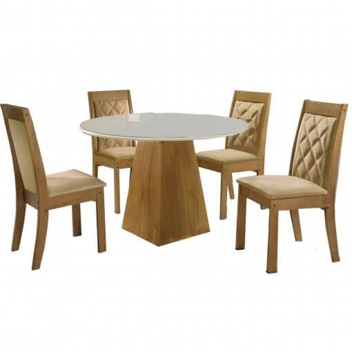 Mesa 4 Cadeiras Sevilha Tampo Redondo