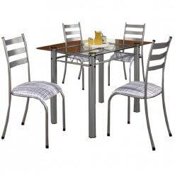 Mesa Retangular 100×60 Com 4 Cadeiras Ipanema Tampo Vidro