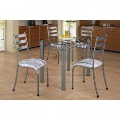 Mesa Retangular 100×60 Com 4 Cadeiras Ipanema Tampo Vidro Cinza